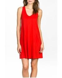 Красное свободное платье