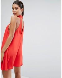 Женское красное свободное платье