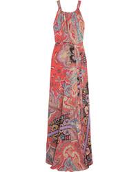 Красное шелковое платье-макси с принтом