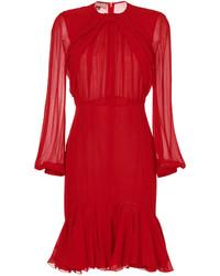 Женское красное шелковое платье с пышной юбкой от Giambattista Valli