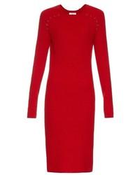 Красное шерстяное платье-миди