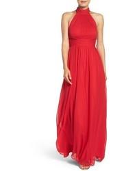 Красное шифоновое вечернее платье