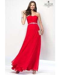 Женское красное шифоновое вечернее платье
