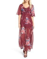 Красное шифоновое платье-макси с цветочным принтом