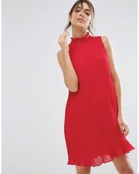 Красное шифоновое свободное платье