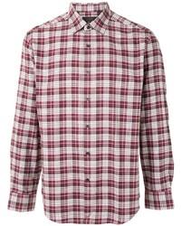 Мужская красно-белая рубашка с длинным рукавом в шотландскую клетку от D'urban