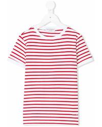 Детская красно-белая футболка в горизонтальную полоску для мальчику