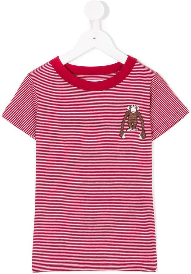 Детская красно-белая футболка в горизонтальную полоску для мальчиков