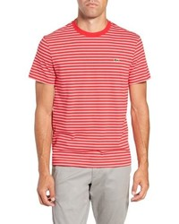 Красно-белая футболка с круглым вырезом в горизонтальную полоску