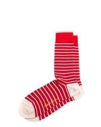 Красно-белые носки в горизонтальную полоску