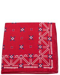 Красно-белый нагрудный платок с принтом