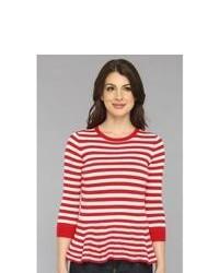 Красно-белый свитер с круглым вырезом в горизонтальную полоску