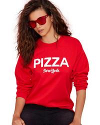 Красно-белый свитер с круглым вырезом с принтом