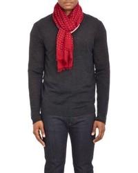 Красно-белый шелковый шарф в горошек