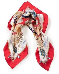 Красно-белый шелковый шарф
