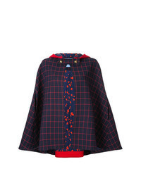 Красно-темно-синее пальто-накидка в шотландскую клетку