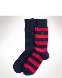 Красно-темно-синие носки в горизонтальную полоску