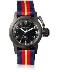 Красно-темно-синие часы в горизонтальную полоску