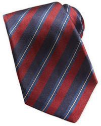 Красно-темно-синий галстук в вертикальную полоску