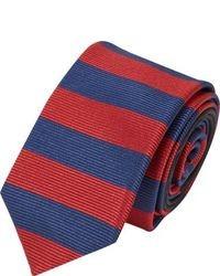 Красно-темно-синий галстук в горизонтальную полоску