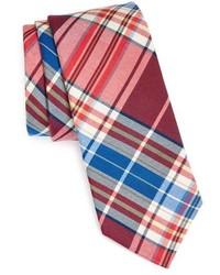Красно-темно-синий галстук в шотландскую клетку