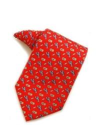 Красно-темно-синий галстук с принтом