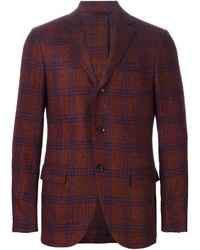 Мужской красно-темно-синий пиджак в шотландскую клетку от Ermenegildo Zegna