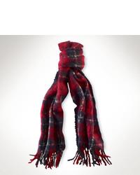 Красно-темно-синий шарф в шотландскую клетку