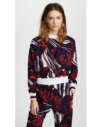 Красно-темно-синяя блузка с длинным рукавом с цветочным принтом