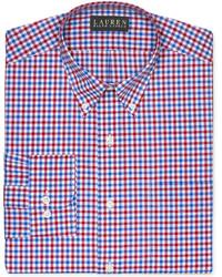 Красно-темно-синяя классическая рубашка в мелкую клетку