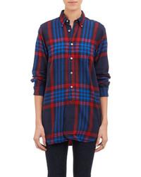 Красно-темно-синяя классическая рубашка