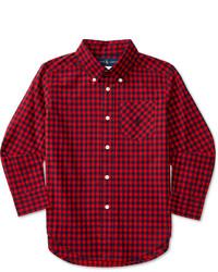 Красно-темно-синяя рубашка с длинным рукавом в шотландскую клетку