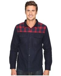 Мужская красно-темно-синяя рубашка с длинным рукавом в шотландскую клетку
