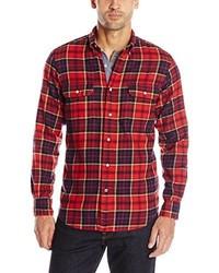 Мужская красно-темно-синяя рубашка с длинным рукавом в шотландскую клетку от Nautica