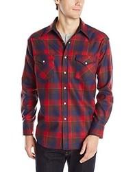 Мужская красно-темно-синяя рубашка с длинным рукавом в шотландскую клетку от Pendleton