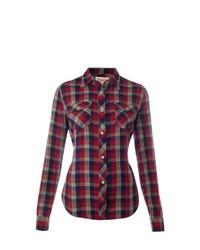 Красно-черная классическая рубашка в шотландскую клетку