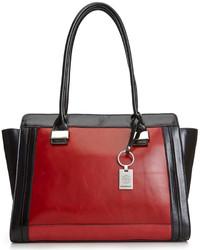 Красно-черная кожаная большая сумка