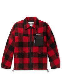 Красно-черная куртка-рубашка в клетку
