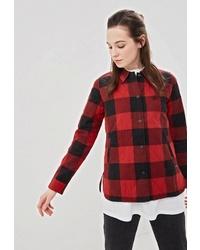 Женская красно-черная куртка-рубашка в клетку от Element