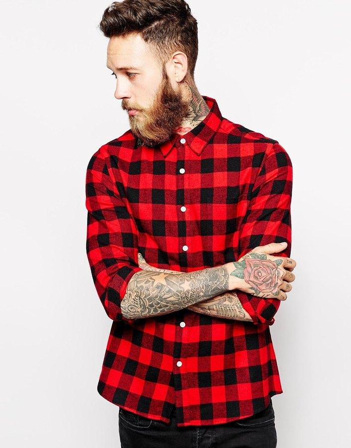 1a05314c33c ... Мужская красно-черная рубашка с длинным рукавом в мелкую клетку от Asos  ...