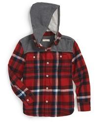Красно-черная рубашка с длинным рукавом в шотландскую клетку