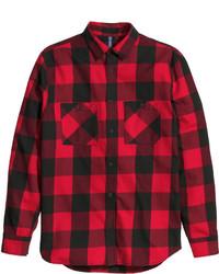 Красно-черная фланелевая рубашка с длинным рукавом в клетку