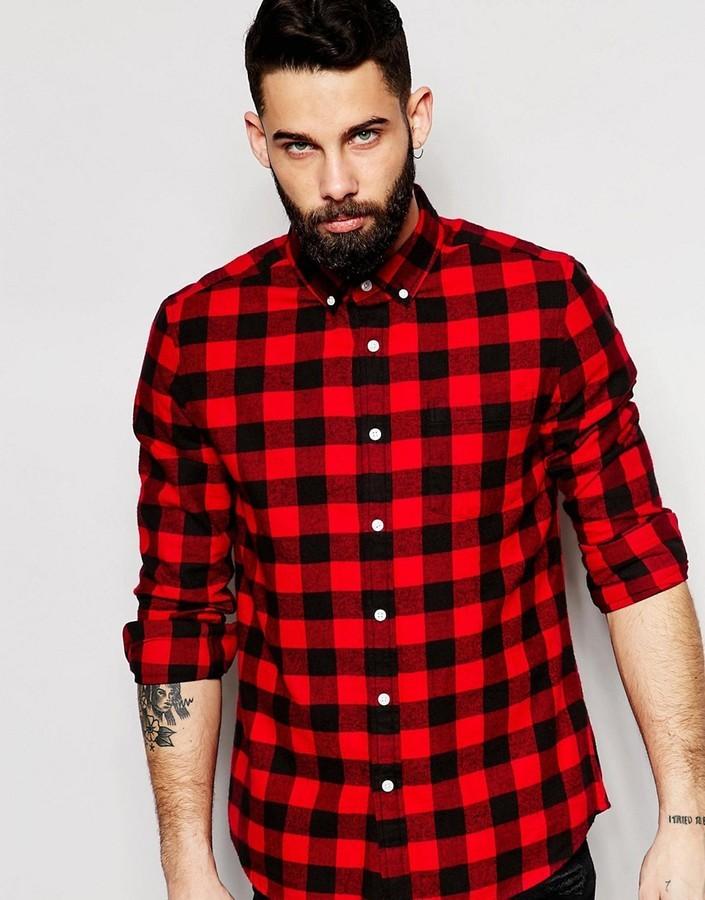d39e5430d69 ... Мужская красно-черная фланелевая рубашка с длинным рукавом в клетку от  Asos ...