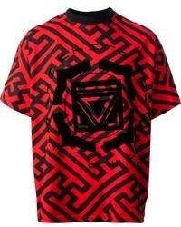 Красно-черная футболка с круглым вырезом с принтом