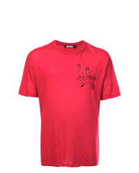 Мужская красно-черная футболка с круглым вырезом с принтом от Adaptation