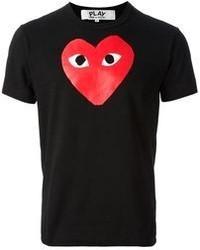 Мужская красно-черная футболка с круглым вырезом с принтом от Comme des Garcons