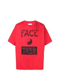 Мужская красно-черная футболка с круглым вырезом с принтом от Facetasm