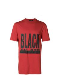 Мужская красно-черная футболка с круглым вырезом с принтом от Neil Barrett