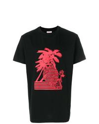 Мужская красно-черная футболка с круглым вырезом с принтом от Palm Angels