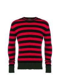 Красно-черный свитер с круглым вырезом в горизонтальную полоску